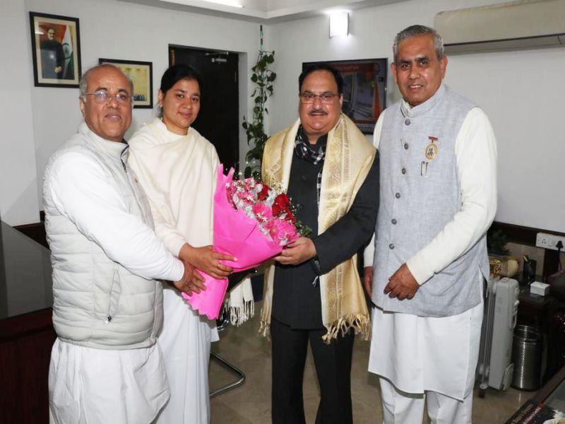 Shantivan ( Abu Road ) : Dr. BK Mruthyunjaya Met with Shri J.P. Nadda ji, new National President of Bharatiya Janata Party